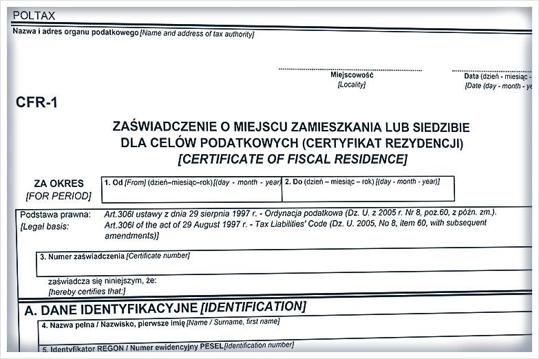 Certyfikat rezydencji podatkowej - Tłumaczenie Przysięgłe przez Internet_Sworny
