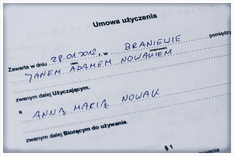 Umowa użyczenia samochodu_Tłumaczenia Przysięgłe przez Internet_Sworny