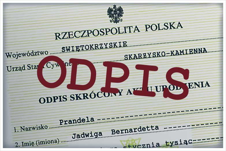 Odpis aktu urodzenia - Tłumaczenia Przysięgłe przez Internet_Sworny
